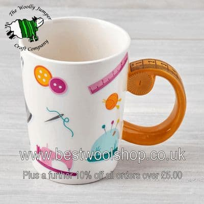 NOVELTY GIFT MUG WITH TAPE MEASURE HANDLE